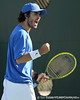 Florida junior Nassim Slilam reacts after winning a point during the No. 9-ranked Gators' 5-2 win against the No. 7-ranked Baylor Bears on Sunday, January 23, 2011 at Linder Stadium at Ring Tennis Complex in Gainesville, Fla. / Gator Country photo by Tim Casey