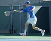 Florida sophomore Bob van Overbeek leaps to return a volley during the No. 9-ranked Gators' 5-2 win against the No. 7-ranked Baylor Bears on Sunday, January 23, 2011 at Linder Stadium at Ring Tennis Complex in Gainesville, Fla. / Gator Country photo by Tim Casey