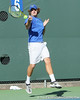 Florida freshman Andrew Butz jumps to return a volley during the No. 9-ranked Gators' 5-2 win against the No. 7-ranked Baylor Bears on Sunday, January 23, 2011 at Linder Stadium at Ring Tennis Complex in Gainesville, Fla. / Gator Country photo by Tim Casey