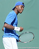 Florida sophomore Sekou Bangoura, Jr. celebrates winning a game during the No. 9-ranked Gators' 5-2 win against the No. 7-ranked Baylor Bears on Sunday, January 23, 2011 at Linder Stadium at Ring Tennis Complex in Gainesville, Fla. / Gator Country photo by Tim Casey