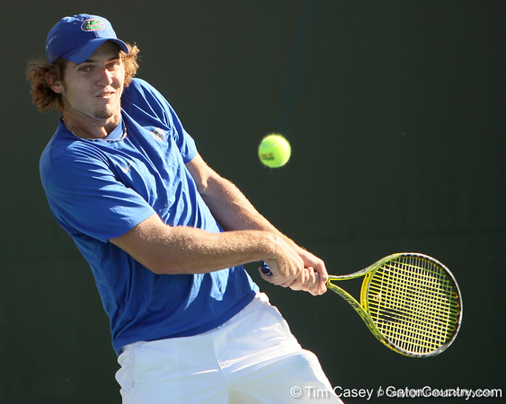 Florida freshman Andrew Butz prepares to return a serve during the No. 9-ranked Gators' 5-2 win against the No. 7-ranked Baylor Bears on Sunday, January 23, 2011 at Linder Stadium at Ring Tennis Complex in Gainesville, Fla. / Gator Country photo by Tim Casey