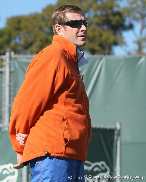 Florida men's tennis head coach Andy Jackson looks on during the No. 9-ranked Gators' 5-2 win against the No. 7-ranked Baylor Bears on Sunday, January 23, 2011 at Linder Stadium at Ring Tennis Complex in Gainesville, Fla. / Gator Country photo by Tim Casey