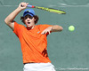 Florida freshman Andrew Butz returns a serve during the No. 9-ranked Gators' 5-2 win against the No. 7-ranked Baylor Bears on Sunday, January 23, 2011 at Linder Stadium at Ring Tennis Complex in Gainesville, Fla. / Gator Country photo by Tim Casey