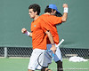Florida senior Alexandre Lacroix celebrates a doubles point during the No. 9-ranked Gators' 5-2 win against the No. 7-ranked Baylor Bears on Sunday, January 23, 2011 at Linder Stadium at Ring Tennis Complex in Gainesville, Fla. / Gator Country photo by Tim Casey