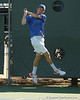 Florida sophomore Bob van Overbeek follows through on a volley during the No. 9-ranked Gators' 5-2 win against the No. 7-ranked Baylor Bears on Sunday, January 23, 2011 at Linder Stadium at Ring Tennis Complex in Gainesville, Fla. / Gator Country photo by Tim Casey