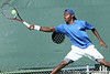 Florida sophomore Sekou Bangoura, Jr. reaches for a ball during the No. 9-ranked Gators' 5-2 win against the No. 7-ranked Baylor Bears on Sunday, January 23, 2011 at Linder Stadium at Ring Tennis Complex in Gainesville, Fla. / Gator Country photo by Tim Casey