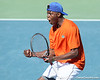 Florida sophomore Sekou Bangoura, Jr. celebrates a doubles point during the No. 9-ranked Gators' 5-2 win against the No. 7-ranked Baylor Bears on Sunday, January 23, 2011 at Linder Stadium at Ring Tennis Complex in Gainesville, Fla. / Gator Country photo by Tim Casey