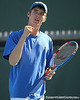Florida sophomore Bob van Overbeek celebrates winning a point during the No. 9-ranked Gators' 5-2 win against the No. 7-ranked Baylor Bears on Sunday, January 23, 2011 at Linder Stadium at Ring Tennis Complex in Gainesville, Fla. / Gator Country photo by Tim Casey