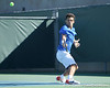 Florida senior Alexandre Lacroix spins after returning a volley during the No. 9-ranked Gators' 5-2 win against the No. 7-ranked Baylor Bears on Sunday, January 23, 2011 at Linder Stadium at Ring Tennis Complex in Gainesville, Fla. / Gator Country photo by Tim Casey