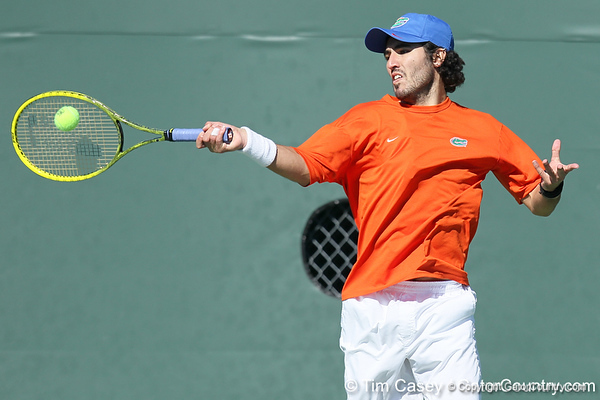 Florida junior Nassim Slilam returns a volley during the No. 9-ranked Gators' 5-2 win against the No. 7-ranked Baylor Bears on Sunday, January 23, 2011 at Linder Stadium at Ring Tennis Complex in Gainesville, Fla. / Gator Country photo by Tim Casey