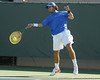 Florida junior Nassim Slilam returns a serve during the No. 9-ranked Gators' 5-2 win against the No. 7-ranked Baylor Bears on Sunday, January 23, 2011 at Linder Stadium at Ring Tennis Complex in Gainesville, Fla. / Gator Country photo by Tim Casey