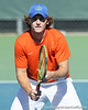 Florida freshman Andrew Butz prepares for a serve during the No. 9-ranked Gators' 5-2 win against the No. 7-ranked Baylor Bears on Sunday, January 23, 2011 at Linder Stadium at Ring Tennis Complex in Gainesville, Fla. / Gator Country photo by Tim Casey