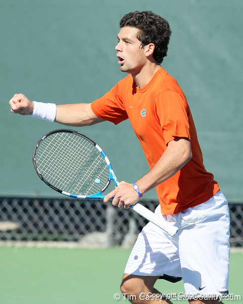 Florida senior Alexandre Lacroix protests a line call during the No. 9-ranked Gators' 5-2 win against the No. 7-ranked Baylor Bears on Sunday, January 23, 2011 at Linder Stadium at Ring Tennis Complex in Gainesville, Fla. / Gator Country photo by Tim Casey