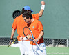 Florida senior Alexandre Lacroix and junior Nassim Slilam celebrate a doubles point during the No. 9-ranked Gators' 5-2 win against the No. 7-ranked Baylor Bears on Sunday, January 23, 2011 at Linder Stadium at Ring Tennis Complex in Gainesville, Fla. / Gator Country photo by Tim Casey
