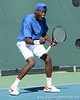 Florida sophomore Sekou Bangoura, Jr. reacts after making a running return during the No. 9-ranked Gators' 5-2 win against the No. 7-ranked Baylor Bears on Sunday, January 23, 2011 at Linder Stadium at Ring Tennis Complex in Gainesville, Fla. / Gator Country photo by Tim Casey