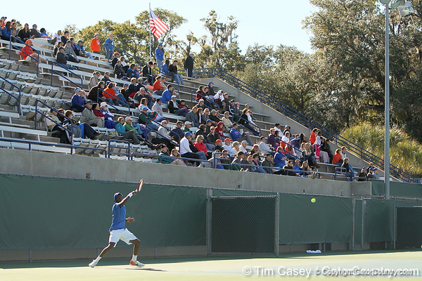 Florida sophomore Sekou Bangoura, Jr. returns a serve during the No. 9-ranked Gators' 5-2 win against the No. 7-ranked Baylor Bears on Sunday, January 23, 2011 at Linder Stadium at Ring Tennis Complex in Gainesville, Fla. / Gator Country photo by Tim Casey