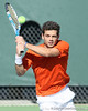 Florida senior Alexandre Lacroix returns a serve during the No. 9-ranked Gators' 5-2 win against the No. 7-ranked Baylor Bears on Sunday, January 23, 2011 at Linder Stadium at Ring Tennis Complex in Gainesville, Fla. / Gator Country photo by Tim Casey