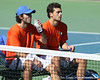 Florida junior Nassim Slilam and senior Alexandre Lacroix rest between sets during the No. 9-ranked Gators' 5-2 win against the No. 7-ranked Baylor Bears on Sunday, January 23, 2011 at Linder Stadium at Ring Tennis Complex in Gainesville, Fla. / Gator Country photo by Tim Casey