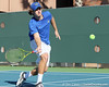 Florida freshman Andrew Butz runs to the ball during the No. 9-ranked Gators' 5-2 win against the No. 7-ranked Baylor Bears on Sunday, January 23, 2011 at Linder Stadium at Ring Tennis Complex in Gainesville, Fla. / Gator Country photo by Tim Casey