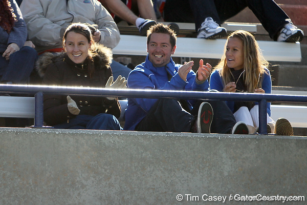 Former Florida women's tennis player Anastasia Revzina cheers during the No. 9-ranked Gators' 5-2 win against the No. 7-ranked Baylor Bears on Sunday, January 23, 2011 at Linder Stadium at Ring Tennis Complex in Gainesville, Fla. / Gator Country photo by Tim Casey