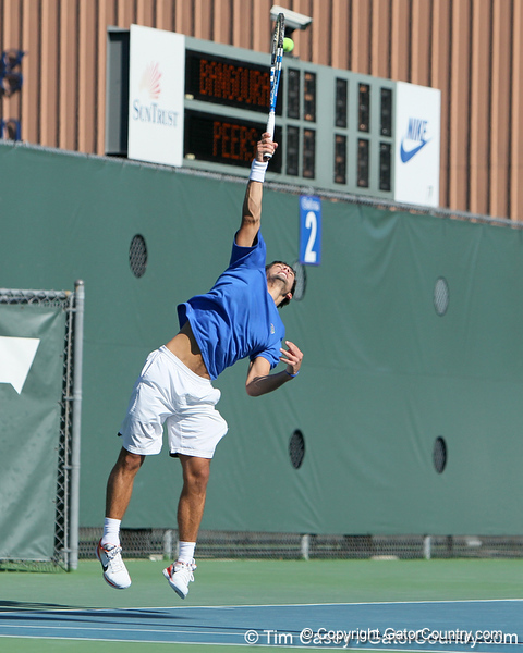 Florida senior Alexandre Lacroix serves during the No. 9-ranked Gators' 5-2 win against the No. 7-ranked Baylor Bears on Sunday, January 23, 2011 at Linder Stadium at Ring Tennis Complex in Gainesville, Fla. / Gator Country photo by Tim Casey