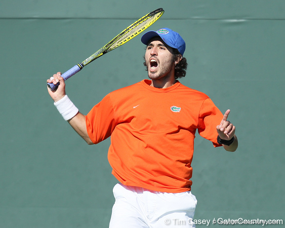 Florida junior Nassim Slilam reacts after losing a point during the No. 9-ranked Gators' 5-2 win against the No. 7-ranked Baylor Bears on Sunday, January 23, 2011 at Linder Stadium at Ring Tennis Complex in Gainesville, Fla. / Gator Country photo by Tim Casey
