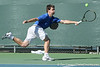 Florida sophomore Billy Federhofer reaches to return a volley during the No. 9-ranked Gators' 5-2 win against the No. 7-ranked Baylor Bears on Sunday, January 23, 2011 at Linder Stadium at Ring Tennis Complex in Gainesville, Fla. / Gator Country photo by Tim Casey