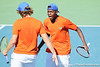 Florida freshman Andrew Butz and sophomore Sekou Bangoura, Jr. celebrate winning the deciding doubles point during the No. 9-ranked Gators' 5-2 win against the No. 7-ranked Baylor Bears on Sunday, January 23, 2011 at Linder Stadium at Ring Tennis Complex in Gainesville, Fla. / Gator Country photo by Tim Casey