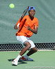 Florida sophomore Sekou Bangoura, Jr. returns a volley during the No. 9-ranked Gators' 5-2 win against the No. 7-ranked Baylor Bears on Sunday, January 23, 2011 at Linder Stadium at Ring Tennis Complex in Gainesville, Fla. / Gator Country photo by Tim Casey