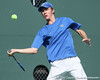 Florida sophomore Bob van Overbeek follows the ball during the No. 9-ranked Gators' 5-2 win against the No. 7-ranked Baylor Bears on Sunday, January 23, 2011 at Linder Stadium at Ring Tennis Complex in Gainesville, Fla. / Gator Country photo by Tim Casey