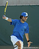Florida junior Nassim Slilam follows through on a swing during the No. 9-ranked Gators' 5-2 win against the No. 7-ranked Baylor Bears on Sunday, January 23, 2011 at Linder Stadium at Ring Tennis Complex in Gainesville, Fla. / Gator Country photo by Tim Casey