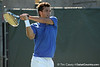 Florida senior Alexandre Lacroix follows through on a swing during the No. 9-ranked Gators' 5-2 win against the No. 7-ranked Baylor Bears on Sunday, January 23, 2011 at Linder Stadium at Ring Tennis Complex in Gainesville, Fla. / Gator Country photo by Tim Casey