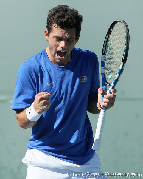 Florida senior Alexandre Lacroix celebrates winning a point during the No. 9-ranked Gators' 5-2 win against the No. 7-ranked Baylor Bears on Sunday, January 23, 2011 at Linder Stadium at Ring Tennis Complex in Gainesville, Fla. / Gator Country photo by Tim Casey