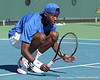 Florida sophomore Sekou Bangoura, Jr. watches his shot fall in bounds during the No. 9-ranked Gators' 5-2 win against the No. 7-ranked Baylor Bears on Sunday, January 23, 2011 at Linder Stadium at Ring Tennis Complex in Gainesville, Fla. / Gator Country photo by Tim Casey