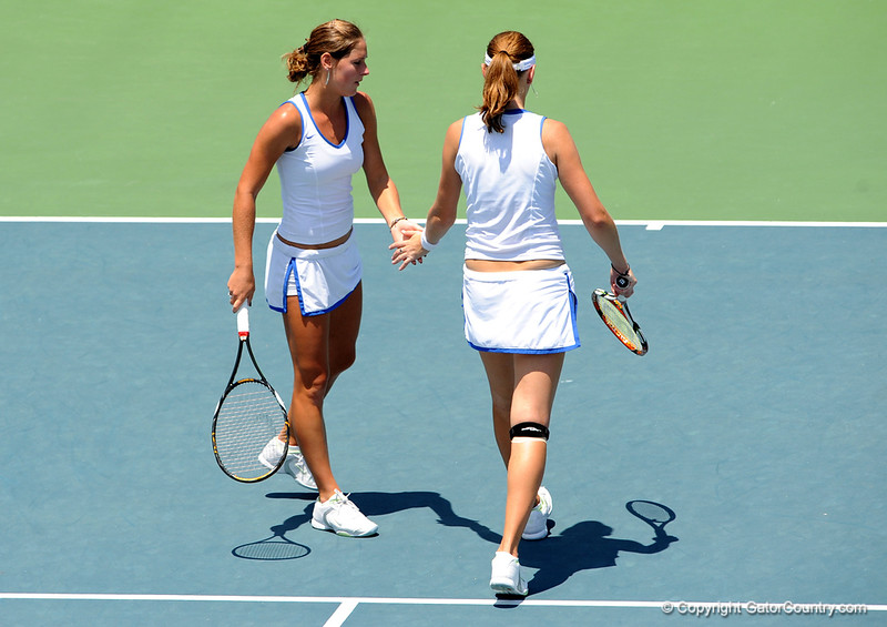 Freshman Joanna 'Jo' Mather and Junior Marrit Boonstra of the University of Florida women's tennis team compete in the NCAA women's tournament on Saturday, May 9, 2009 against the University of Charleston in Gainesville, Fla. at the Ring Tennis Complex. / Gator Country photo by Casey Brooke Lawson