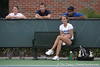 photo by Tim Casey<br /> <br /> Florida freshman Jessica Alexander watches from the side after retiring from her singles match during the No. 7-ranked Gators' 6-1 win against the Stetson Hatters on Tuesday, January 27, 2009 at Linder Stadium in Gainesville, Fla.