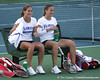 photo by Tim Casey<br /> <br /> Florida freshman Jo Mather talks with doubles partner Barbara Pinterova during the No. 7-ranked Gators' 6-1 win against the Stetson Hatters on Tuesday, January 27, 2009 at Linder Stadium in Gainesville, Fla.