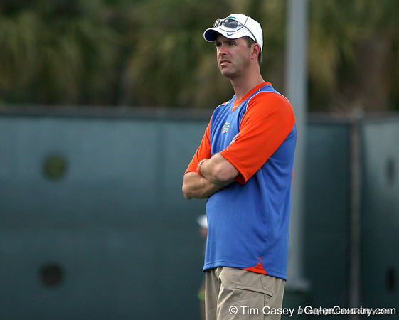 photo by Tim Casey<br /> <br /> Florida coach Roland Thornqvist watches during the No. 7-ranked Gators' 6-1 win against the Stetson Hatters on Tuesday, January 27, 2009 at Linder Stadium in Gainesville, Fla.