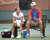 photo by Tim Casey<br /> <br /> Florida junior Megan Alexander talks with coach Roland Thornqvist  during the No. 7-ranked Gators' 6-1 win against the Stetson Hatters on Tuesday, January 27, 2009 at Linder Stadium in Gainesville, Fla.