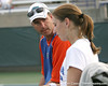 photo by Tim Casey<br /> <br /> Florida coach Roland Thornqvist talks with Marrit Boonstra during the No. 7-ranked Gators' 6-1 win against the Stetson Hatters on Tuesday, January 27, 2009 at Linder Stadium in Gainesville, Fla.