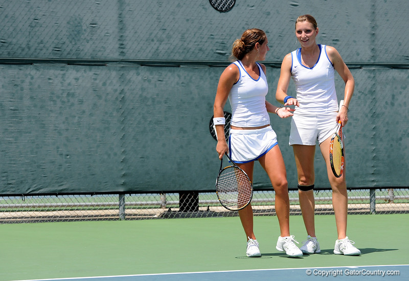 Junior Marrit Boonstra and freshman Joanna 'Jo' Mather of the University of Florida women's tennis team compete in the NCAA women's tournament on Sunday, May 10, 2009 against the Florida State University in Gainesville, Fla. at the Ring Tennis Complex. / Gator Country photo by Casey Brooke Lawson