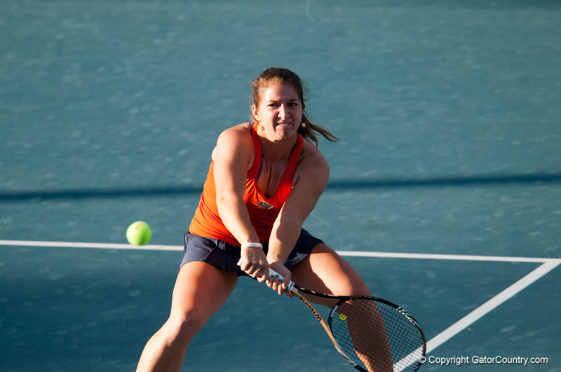 Florida sophomore Alexandra Cercone hits a drop during the Gators' 7-0 win against the FSU Seminoles on Wednesday, February 29, 2012 at the Alfred A Ring Tennis Complex in Gainesville, Fla. / Gator Country photo by Saj Guevara