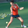 Florida sophomore Sofie Oyen hits a forehand during the Gators' 7-0 win against the FSU Seminoles on Wednesday, February 29, 2012 at the Alfred A Ring Tennis Complex in Gainesville, Fla. / Gator Country photo by Saj Guevara