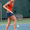 Florida senior Joanna Mather picks up a ball during the Gators' 7-0 win against the FSU Seminoles on Wednesday, February 29, 2012 at the Alfred A Ring Tennis Complex in Gainesville, Fla. / Gator Country photo by Saj Guevara