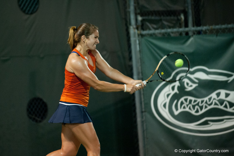 Florida sophomore Alexandra Cercone hits a backhand during the Gators' 7-0 win against the FSU Seminoles on Wednesday, February 29, 2012 at the Alfred A Ring Tennis Complex in Gainesville, Fla. / Gator Country photo by Saj Guevara