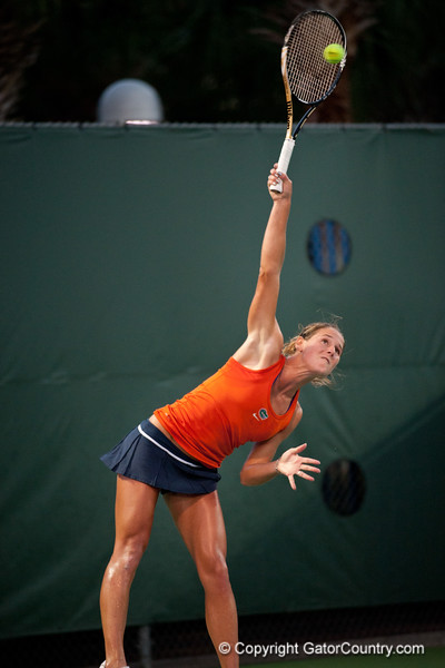 Florida senior Joanna Mather serves during the Gators' 7-0 win against the FSU Seminoles on Wednesday, February 29, 2012 at the Alfred A Ring Tennis Complex in Gainesville, Fla. / Gator Country photo by Saj Guevara