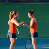 Florida sophomores Alexandra Cercone Olivia Janowicz strategizing during the Gators' 7-0 win against the FSU Seminoles on Wednesday, February 29, 2012 at the Alfred A Ring Tennis Complex in Gainesville, Fla. / Gator Country photo by Saj Guevara