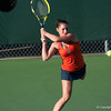 Florida sophomore Sofie Oyen hits a backhand during the Gators' 7-0 win against the FSU Seminoles on Wednesday, February 29, 2012 at the Alfred A Ring Tennis Complex in Gainesville, Fla. / Gator Country photo by Saj Guevara