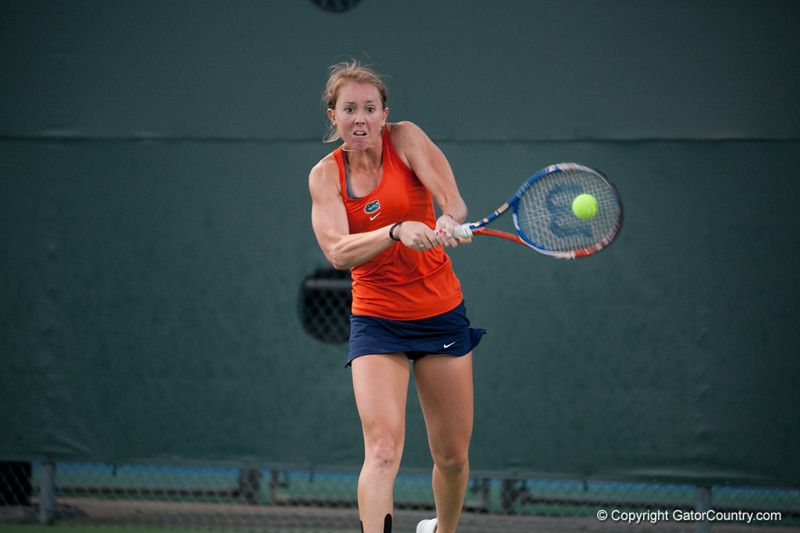 Florida junior Lauren Embree hits a backhand during the Gators' 7-0 win against the FSU Seminoles on Wednesday, February 29, 2012 at the Alfred A Ring Tennis Complex in Gainesville, Fla. / Gator Country photo by Saj Guevara