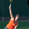 Florida sophomore Sofie Oyen serves during the Gators' 7-0 win against the FSU Seminoles on Wednesday, February 29, 2012 at the Alfred A Ring Tennis Complex in Gainesville, Fla. / Gator Country photo by Saj Guevara